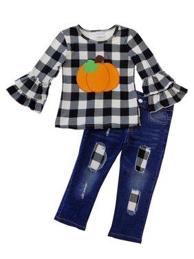 So Sydney Girls Halloween Pumpkin, Candy, Or Cat - 2 Piece Ruffle Pants Outfit
