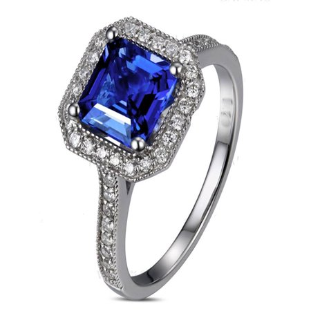 Antique 1 Carat princess cut Sapphire and Diamond Engagement Ring in White Gold