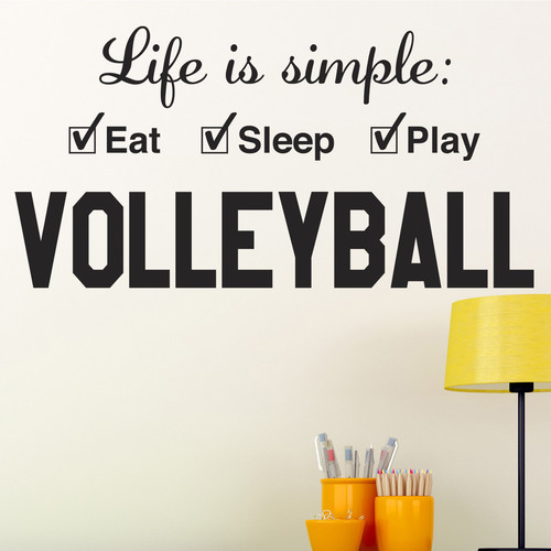 Alphabet Garden Designs Volleyball Life Is Simple Play Wall Decal
