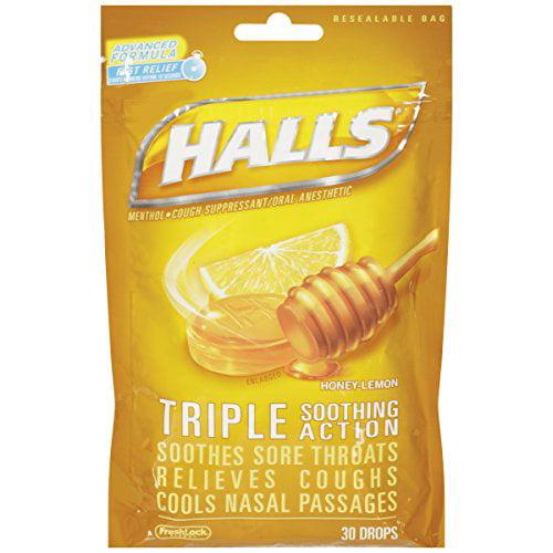 Halls Mentho-Lyptus Drops Honey-Lemon Cough Suppressant 30 Each