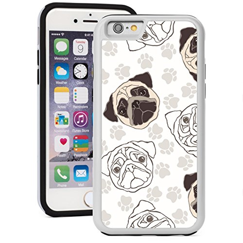 For Apple iPhone 5 5s Shockproof Impact Hard Soft Case Cover Pug Dog Faces (White)