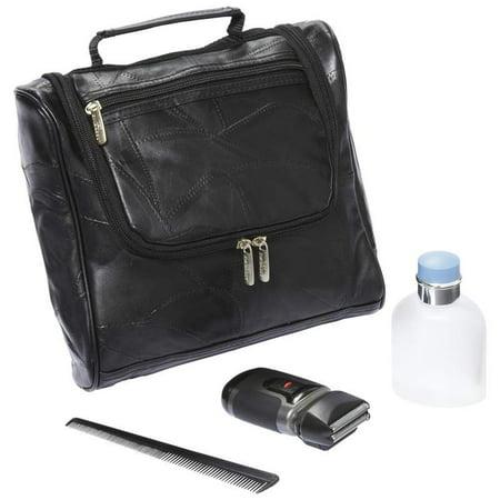 Embassy™ Italian Stone™ Design Genuine Lambskin Leather Toiletry Bag