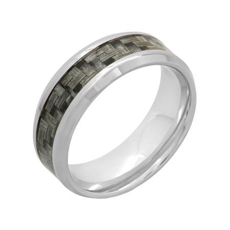 Men's Stainless Steel 8MM Gray Carbon Fiber Wedding Band - Mens Ring