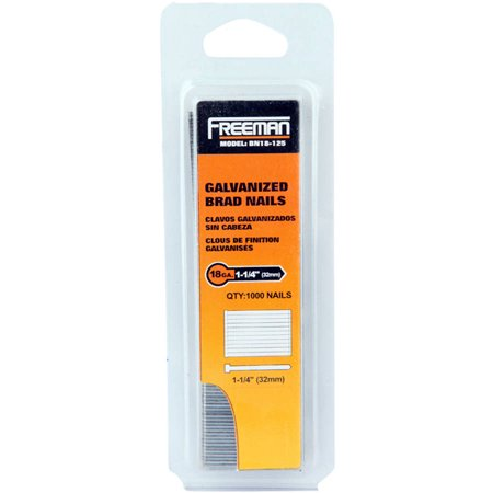 - Freeman BN18-125 18 GA 1 1/4-Inch Glue Collated Brad Nails, 1000 Count