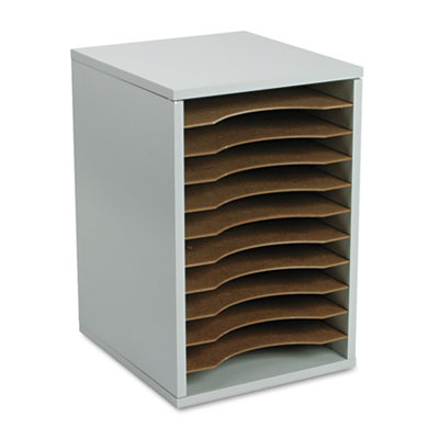 Wood Vertical Desktop Literature Sorter, 11 Sections 10 5/8 x 11 7/8 x 16, Gray, Sold as 1 Each