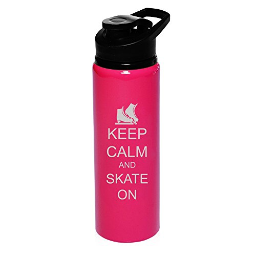 25 oz Aluminum Sports Water Travel Bottle Keep Calm And Skate On Ice Skates (Hot-Pink) by
