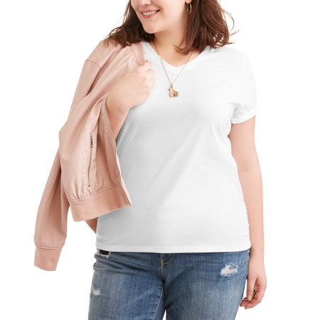 Women's Plus Size Short Sleeved V-Neck Side Shirred T-Shirt for $<!---->