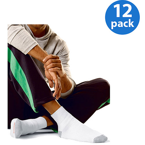 Hanes Men's FreshIQ Comfort Toe Ankle Socks 12-Pack