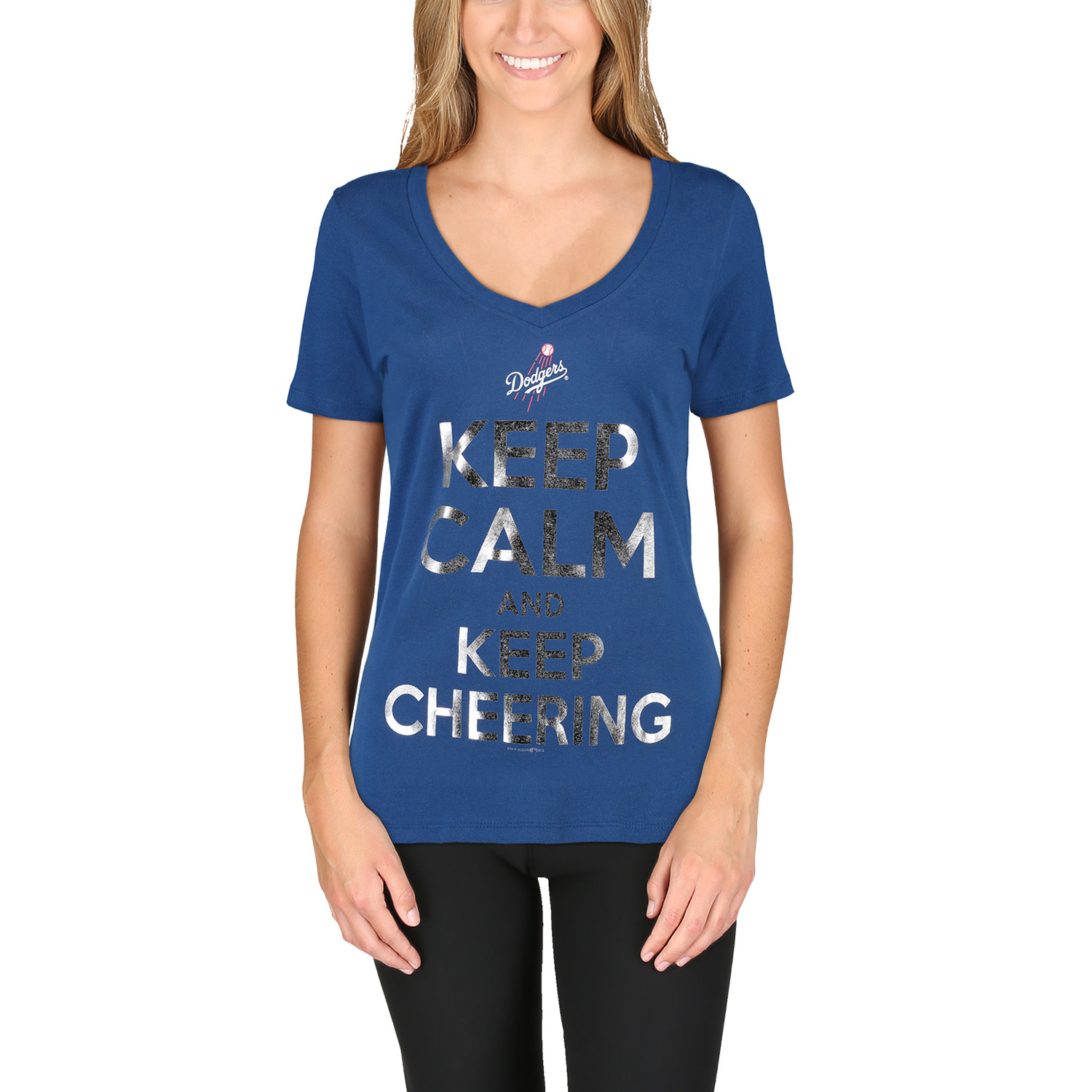 Los Angeles Dodgers 5th & Ocean by New Era Women's Keep Calm and Keep Cheering T-Shirt - Royal
