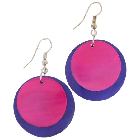 Hot Pink Purple Natural Shell Disc Mod Circle Dangle Earrings 2""