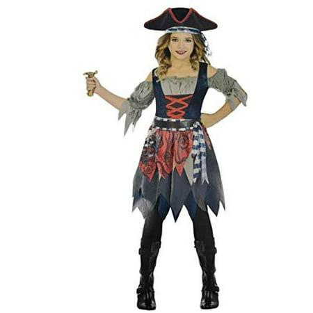 Pirate Cutie Costume (Amscan Castaway Cutie Pirate Costume, Girl's Medium 8-10 Blue,)