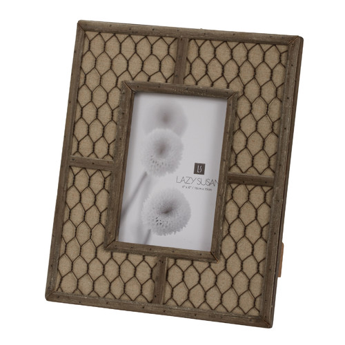 "Dimond Home Canvas Wire 4"" x 6"" Photo Frame in Brown"