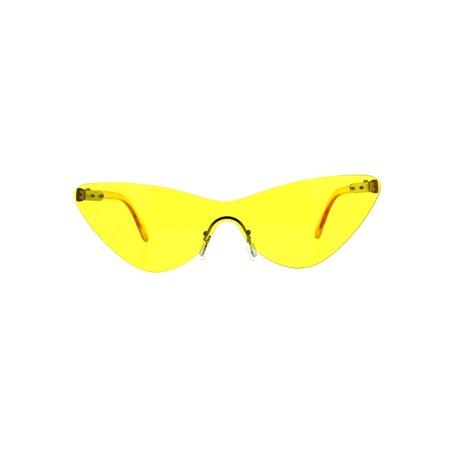 Womens Cat Eye Rimless Shield Goth Rectangular Sunglasses Yellow