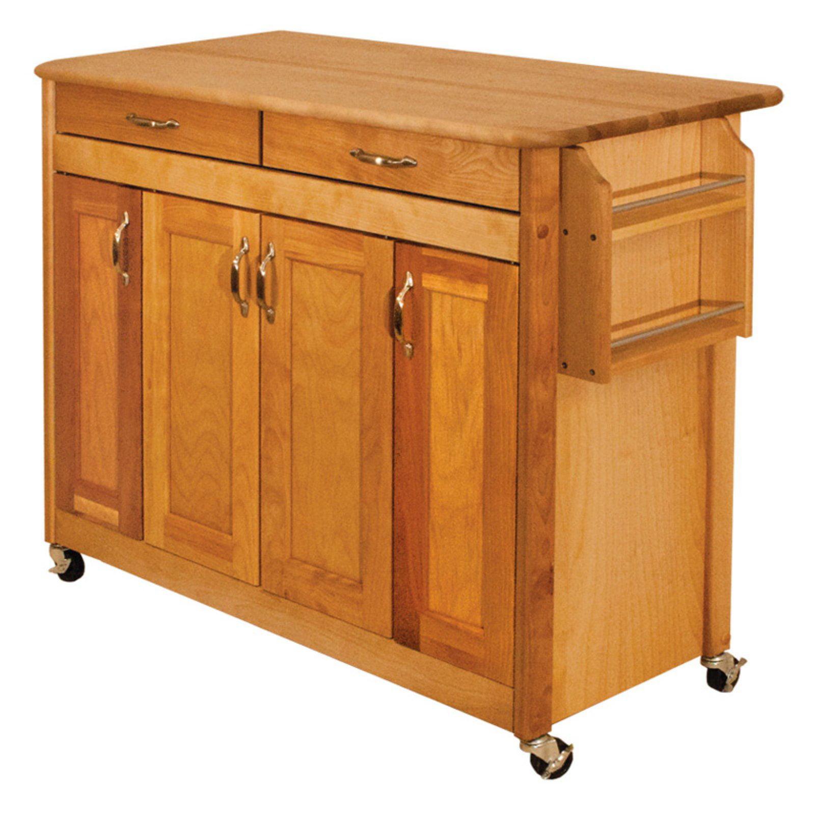 Catskill Craftsman Butcher Block Island with Panel Doors Portable Kitchen Cart by Catskill Craftsmen