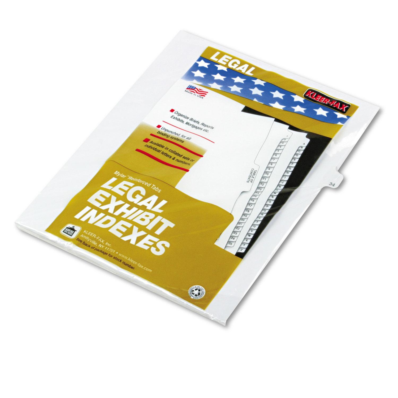 """80000 Series Legal Index Dividers, Side Tab, Printed """"34\ by Kleer-Fax"""