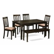 East West Furniture CAAN6-CAP-C 6 Piece Dining Room Table With Bench Set- Kitchen Table With 4 Chairs Plus A Bench