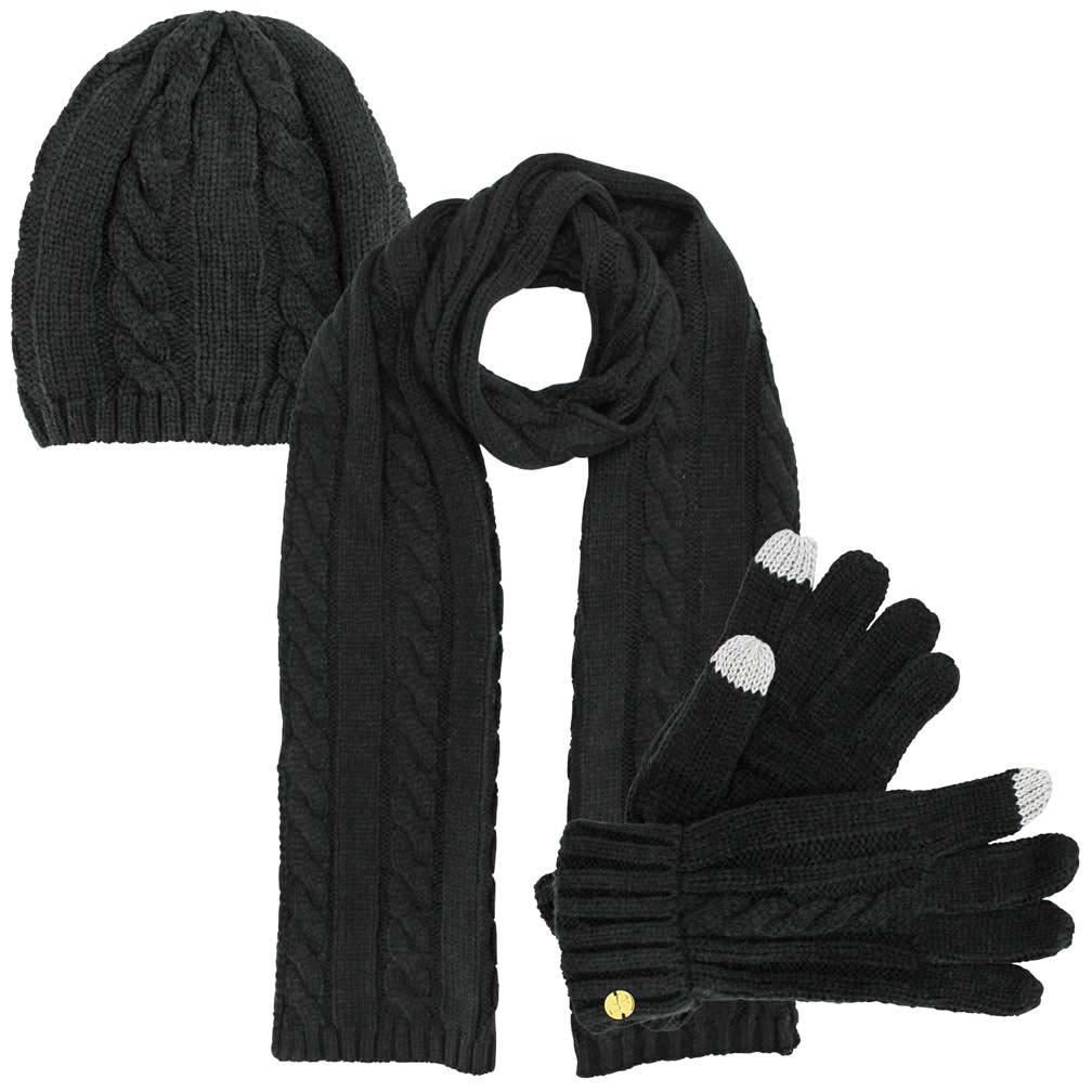 Luxury Divas Cable Knit 3 Piece Beanie Cap Scarf & Gloves Set