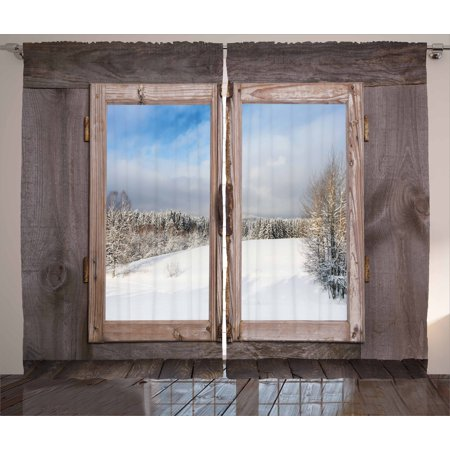 Rustic Curtains 2 Panels Set, Winter Season Scene from a Wooden Window of Country House Snow Vintage Design, Window Drapes for Living Room Bedroom, 108W X 84L Inches, Umber White Blue, by Ambesonne ()