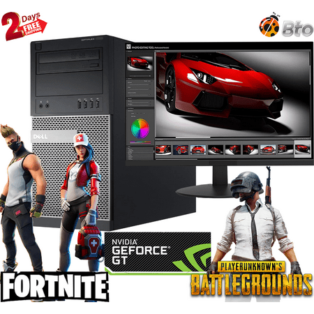 """Gaming Dell Desktop Computer MT PC Core i7 CPU 16GB Ram, 2TB HDD, New 19"""" LCD, NVIDIA GT 1030, Keyboard & Mouse, WiFi, DVD, Win10 Home (Renewed)"""