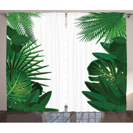 Leaves Decor Curtains 2 Panels Set, Exotic Fantasy Hawaiian Tropical Palm Leaves With Stylish Floral Graphic Illustrated Art, Living Room Bedroom Accessories, By Ambesonne ()
