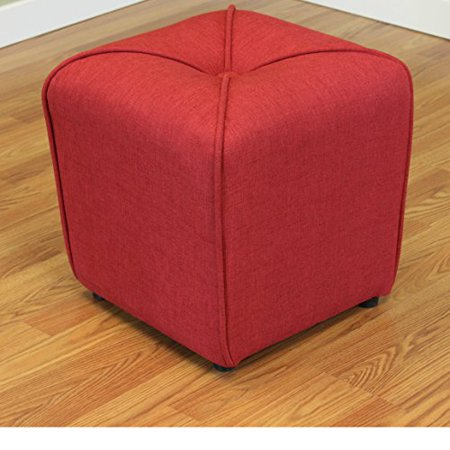 modhaus living modern linen upholstered footstool ottoman with thick foam - includes pen (deep red)