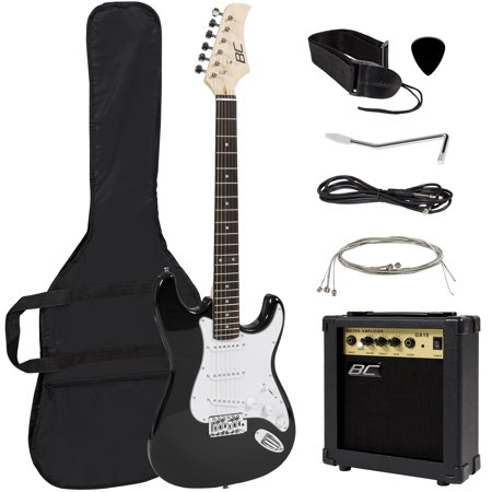 Best Choice Products 39in Full Size Beginner Electric Guitar Starter Kit w/ Case, Strap, 10W Amp, Strings, Pick, Tremolo Bar (Black) El84 Guitar Amp