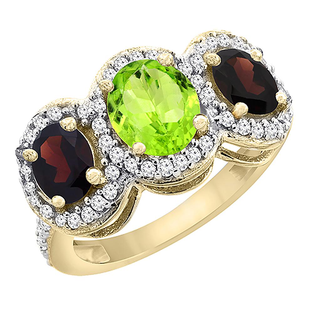 14K Yellow Gold Natural Peridot & Garnet 3-Stone Ring Oval Diamond Accent, size 5.5 by Gabriella Gold