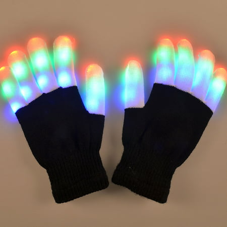 TrendBox 1 Pair LED Flashing Glowing Gloves 6 Modes Colorful Lighting Fingers Unisex For Adult Children Safety Party Halloween with Battery (Simple Halloween Finger Foods)