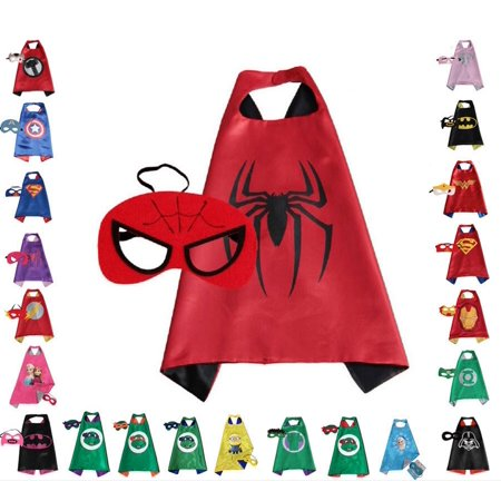 Spiderman Children Super Hero Cape and Mask for Boys, Costume for Kids Birthday Party, Pretend Play, Dress Up
