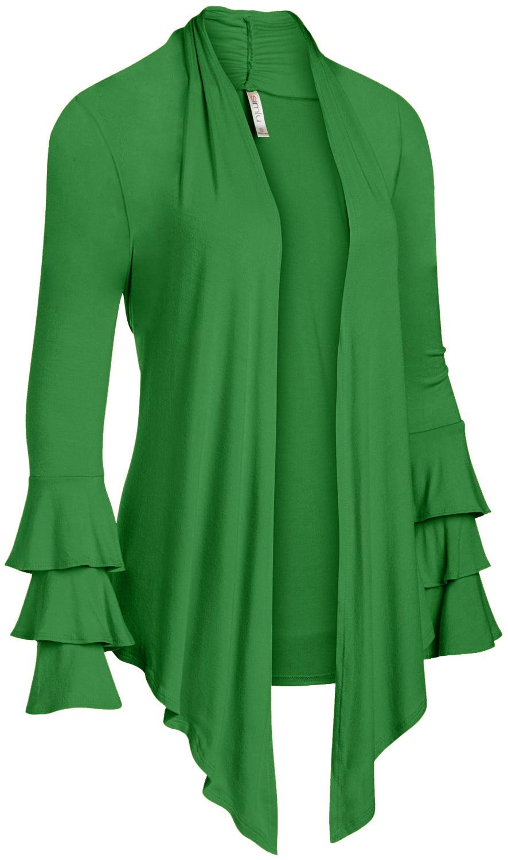 24699ff8a5 Simlu Womens Open Front Cardigan Sweater Ruffle Long Sleeve Cardigan Reg  and Plus Size - Made in USA - Walmart.com