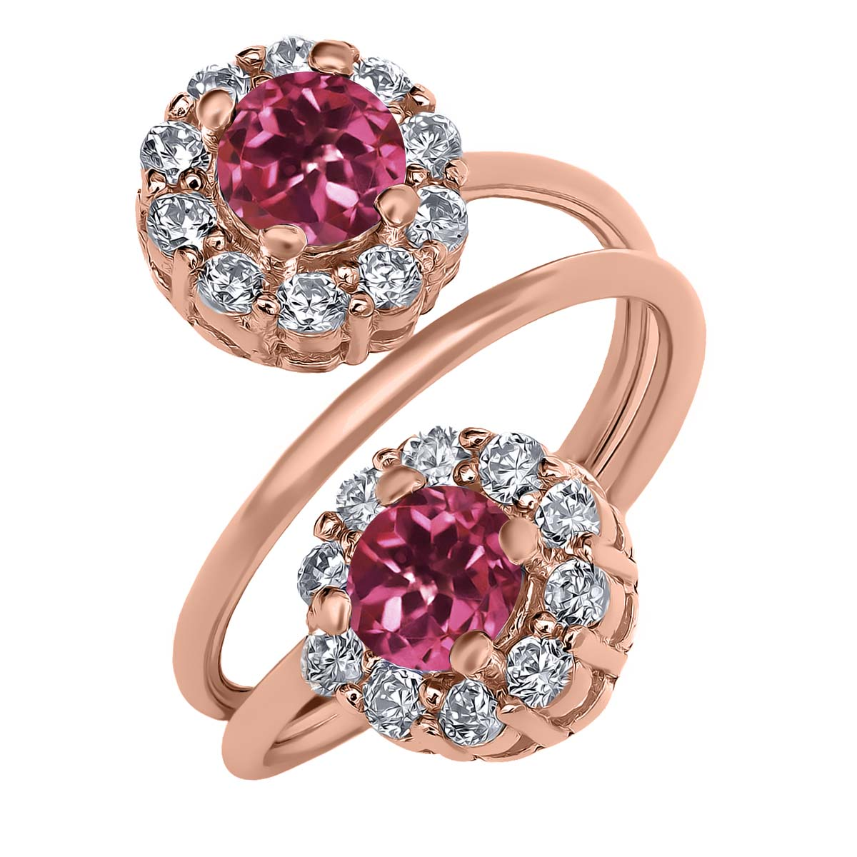 1.60 Ct Round Pink Tourmaline 18K Rose Gold Plated Silver Ring by