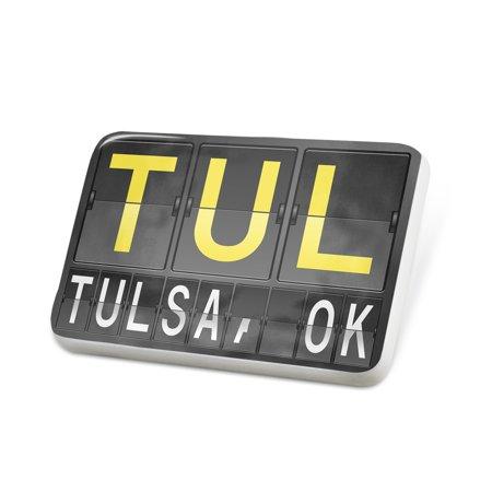 Porcelein Pin TUL Airport Code for Tulsa, OK Lapel Badge –