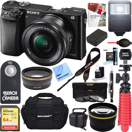 Sony Alpha a6000 24.3MP Wi-Fi Mirrorless Digital Camera + 16-50mm Lens Kit (Black) +64GB SD Card + DSLR Photo Bag + Extra Battery+Wide Angle Lens+2x Telephoto Lens+Flash+Remote+Tripod Executive Bundl](sony dslr camera deals)