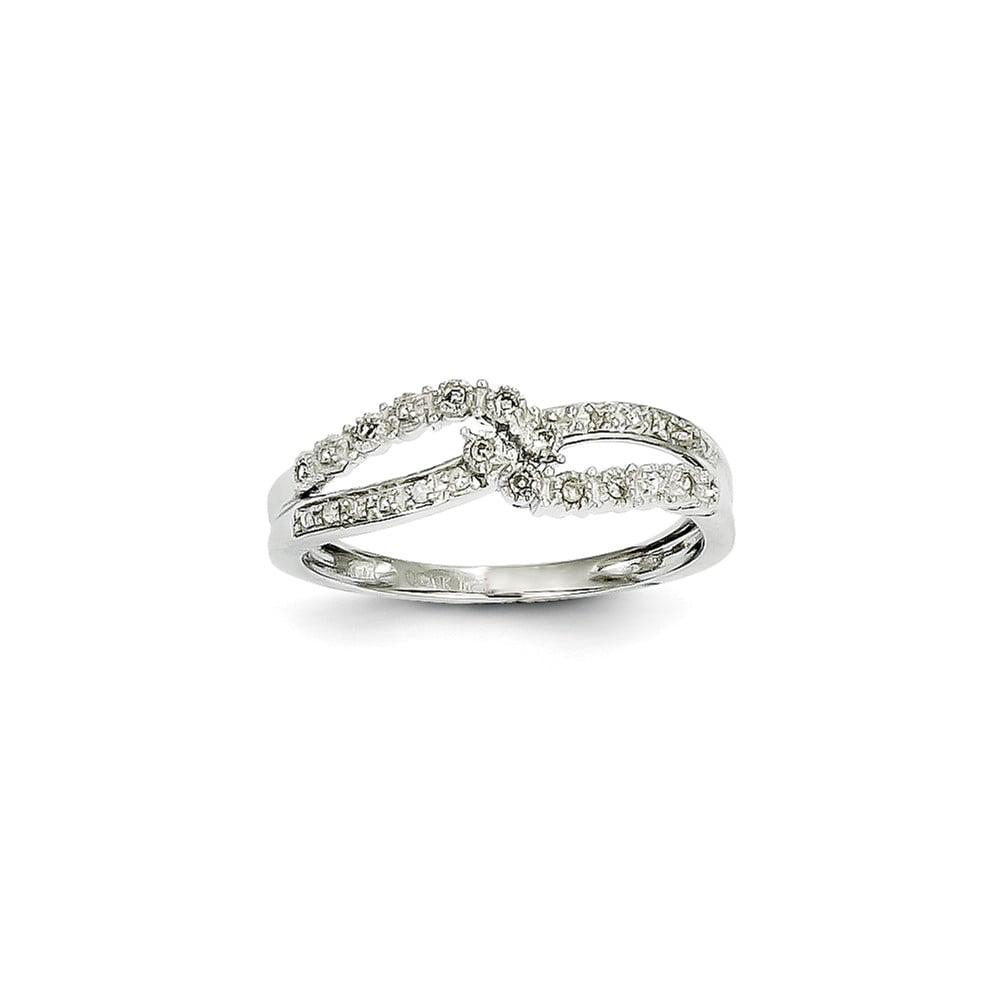 14k White Gold Twist Diamond Ring. Carat Wt- 0.1ct
