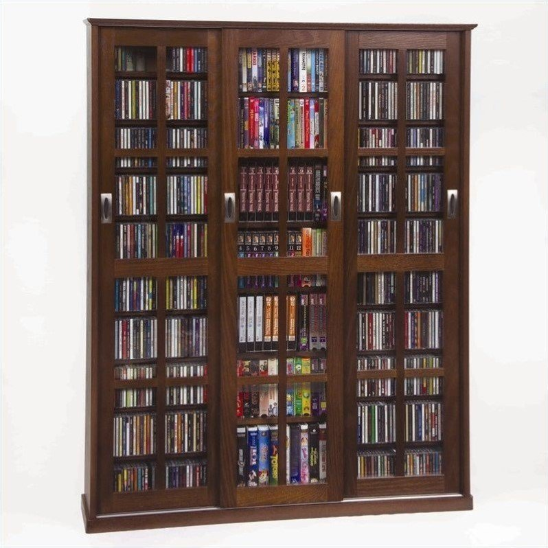 "Leslie Dame 61"" Triple CD DVD Wall Media Cabinet in Walnut"