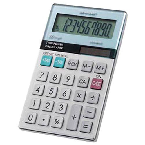Sharp 10-Digit with Punctuation Twin Power / Glass Top Design Calculator, EL-377MB