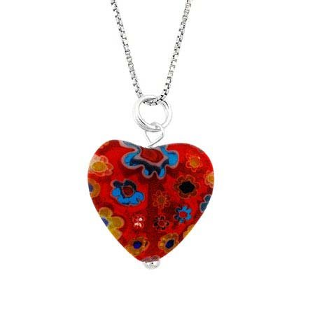 Murano Millefiori Flower Ring - Murano Glass Sterling Silver Bead Red Multi Color Millefiori Flower Heart Pendant