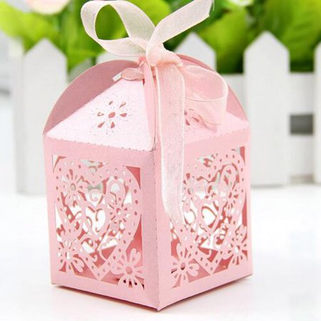 10 Pcs Wedding Favor Box Bridal Shower Party Sweet-heart Hollow Candy Sugar...