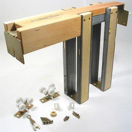 Chrome Pocket Door Hardware - Johnson Hardware 1500 Series Pocket Door Frame and Hardware Set 200lbs 154080PF