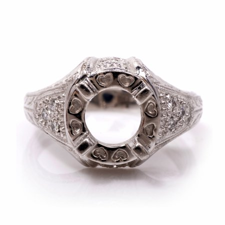 Hand Carved Diamond Platinum Semi Mount Solitaire Engagement Ring Setting Diamond Platinum Engagement Ring Mounting