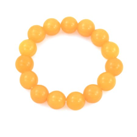 (Unique Bargains Ladies Plastic Round Beads Linked Elastic Bracelet Wristband Chain Yellow)