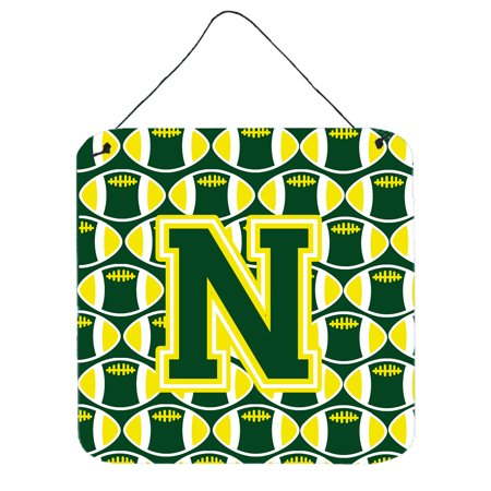 Letter N Football Green and Yellow Wall or Door Hanging Prints - Yellow Letter