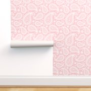 Removable Water-Activated Wallpaper Paisley Pink White Retro Vintage 1960