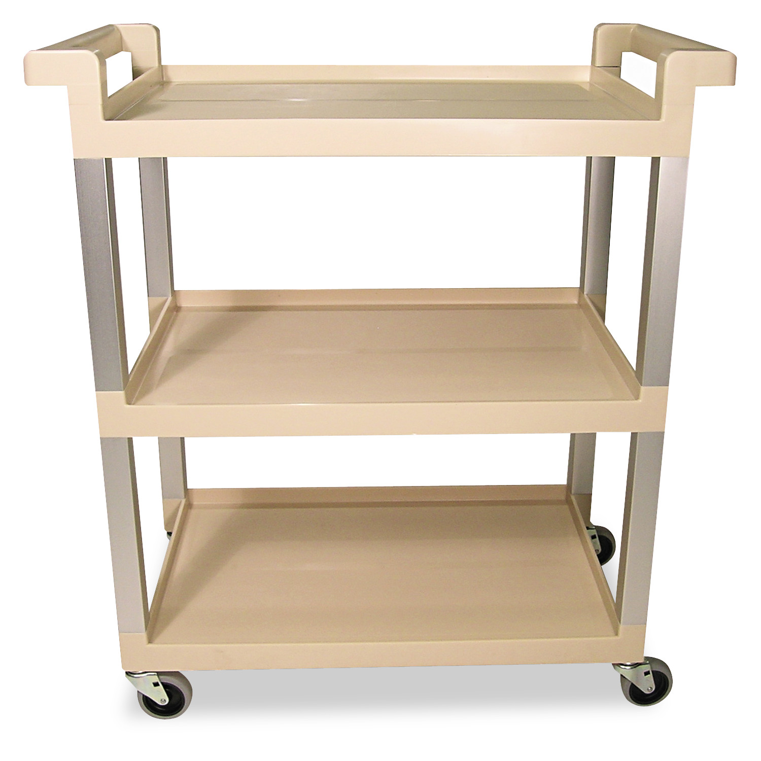 Rubbermaid Commercial Three-Shelf Service Cart w Brushed Aluminum Upright, 16-1 4 x 31-1 2 x 36, Beige by RUBBERMAID COMMERCIAL PROD.