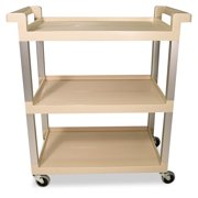 Rubbermaid Commercial Three-Shelf Service Cart w Brushed Aluminum Upright, 16-1 4 x 31-1 2 x 36, Beige by Rubbermaid Commercial