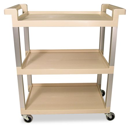 Rubbermaid Commercial Three-Shelf Service Cart w/Brushed Aluminum Upright, 16-1/4 x 31-1/2 x 36, Beige