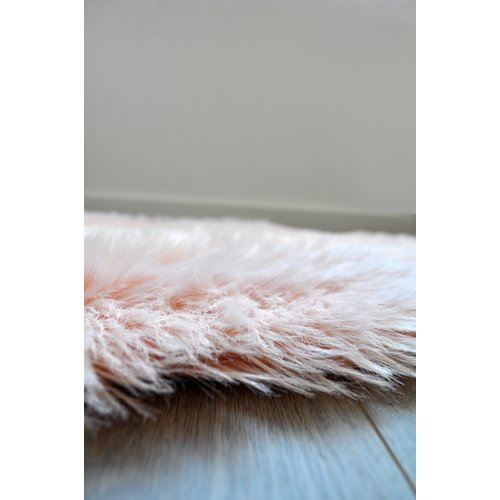 Kroma Carpets Faux Fur Blush Area Rug