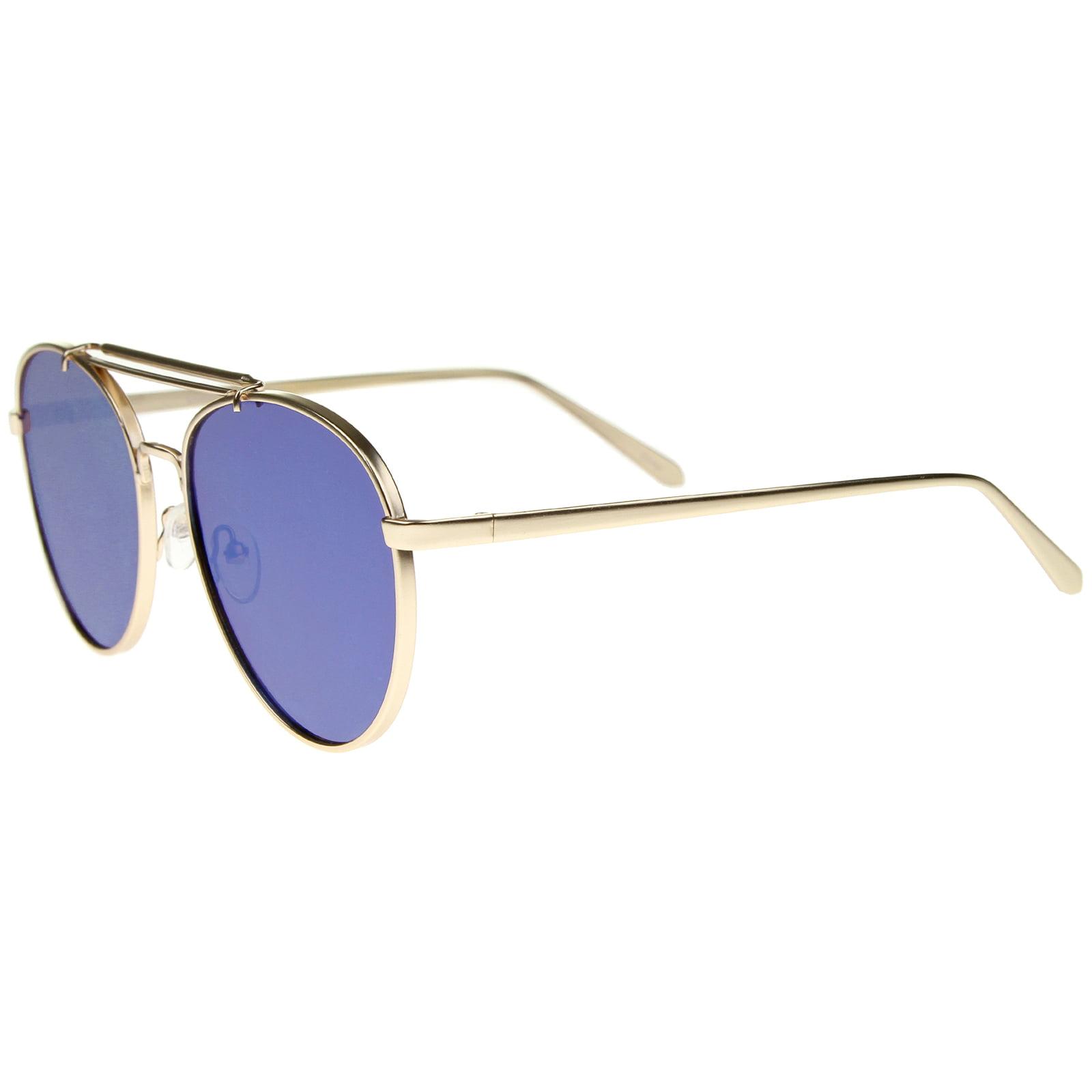 bf39bbd9d99f1 sunglass.la - sunglassLA - Large Metal Teardrop Double Bridge Mirrored Flat  Lens Aviator Sunglasses - 60mm - Walmart.com