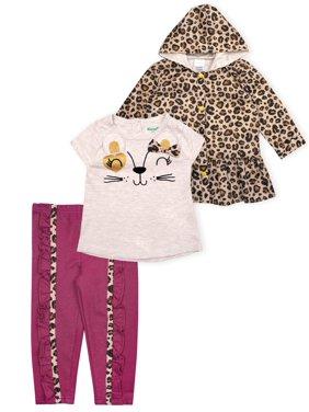 Nannette Baby Girl Cheetah Raincoat, Shirt, & Leggings, 3pc Outfit Set