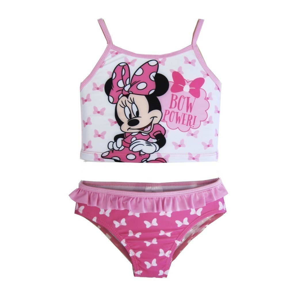 ABC Brands Inc. Disney Baby Girls White Pink Minnie Mouse Character Two Piece Swimsuit 12 - 18M